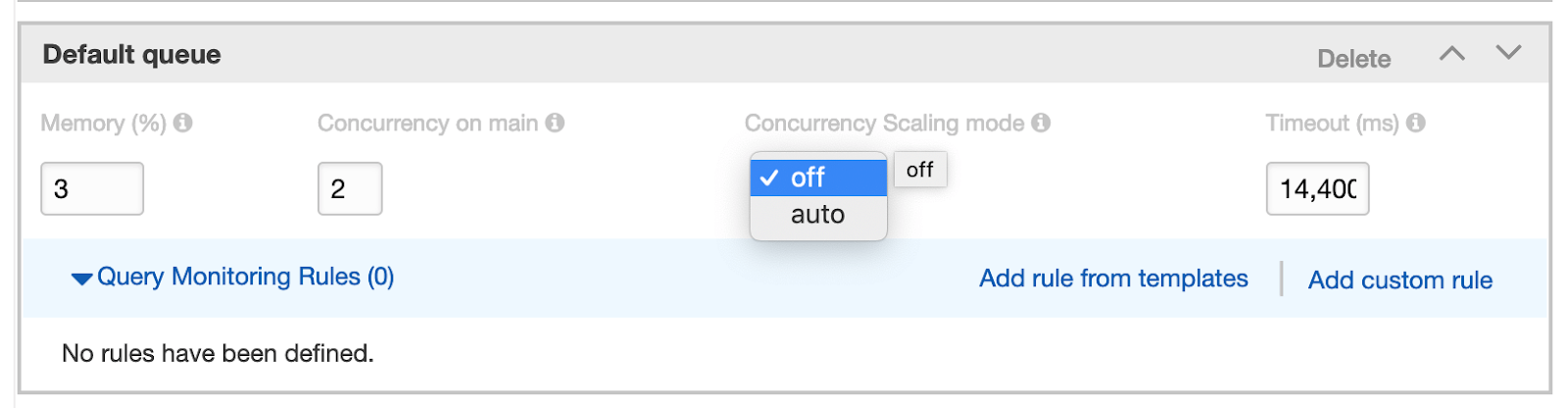 "How to enable concurrency scaling in the AWS Redshift Console ""Workload Management"" section"